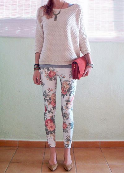 Floral skinny jeans and sweater