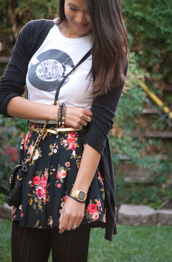 Floral skirt, graphic tee and button down sweater