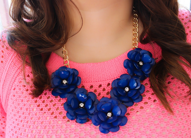 Floral statement necklace and sweater