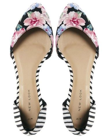 Flower and stripes flats