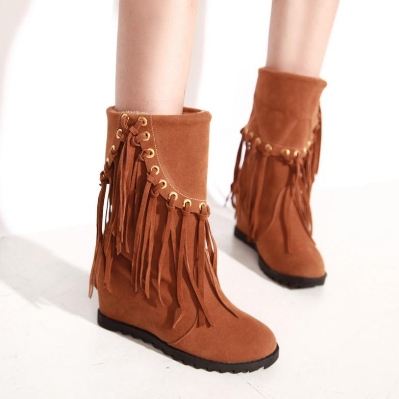 Fringe slouch booties