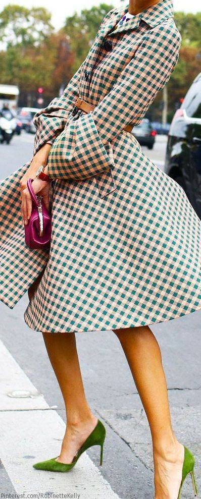 Gingham pattern coat