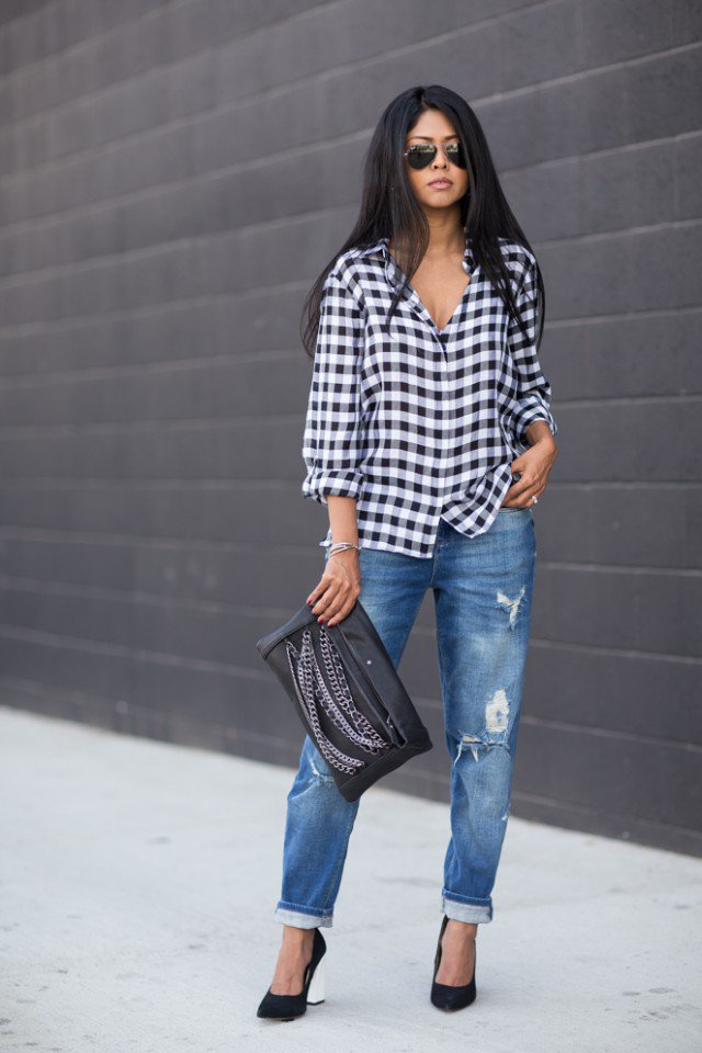 Chic Gingham Shirt with Baggy Jeans