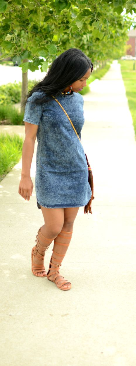 Gladiator and denim dress