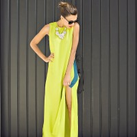 High Slit Yelow Dress