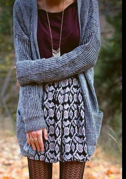 Grey cardigan and skater skirt
