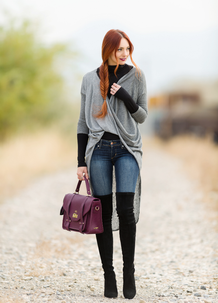 Grey full wrap cardigan
