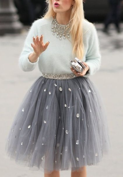 Grey jeweled tulle skirt and sweater