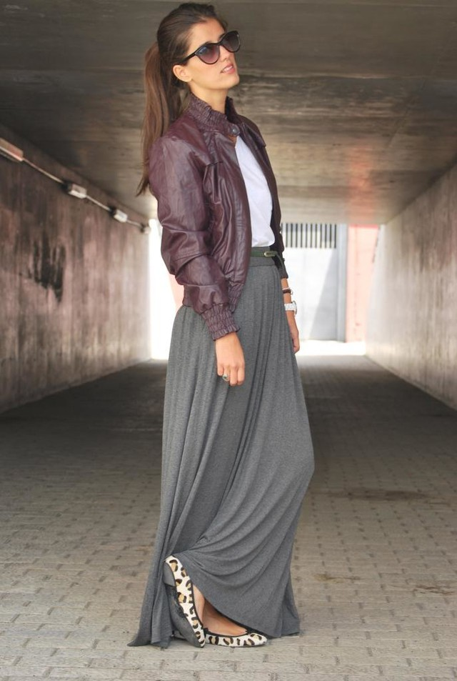 Grey maxi shirt and leather jacket