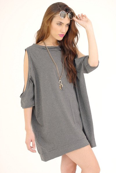 Grey oversized T-shirt dress