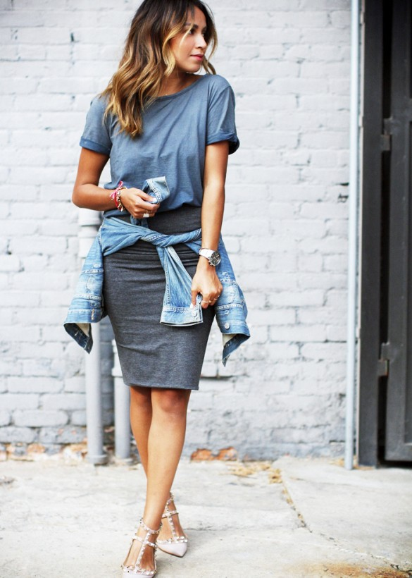 Grey pencil skirt and jean jacket