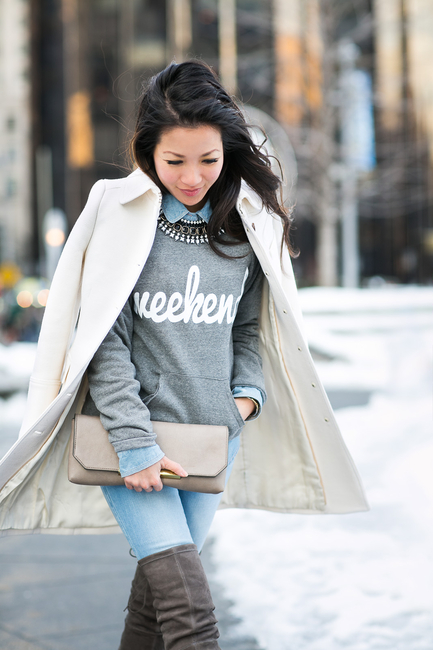 Grey pullover with shirt and statement necklace