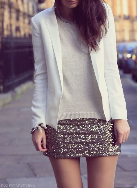 Grey sequin mini skirt, sweater and blazer