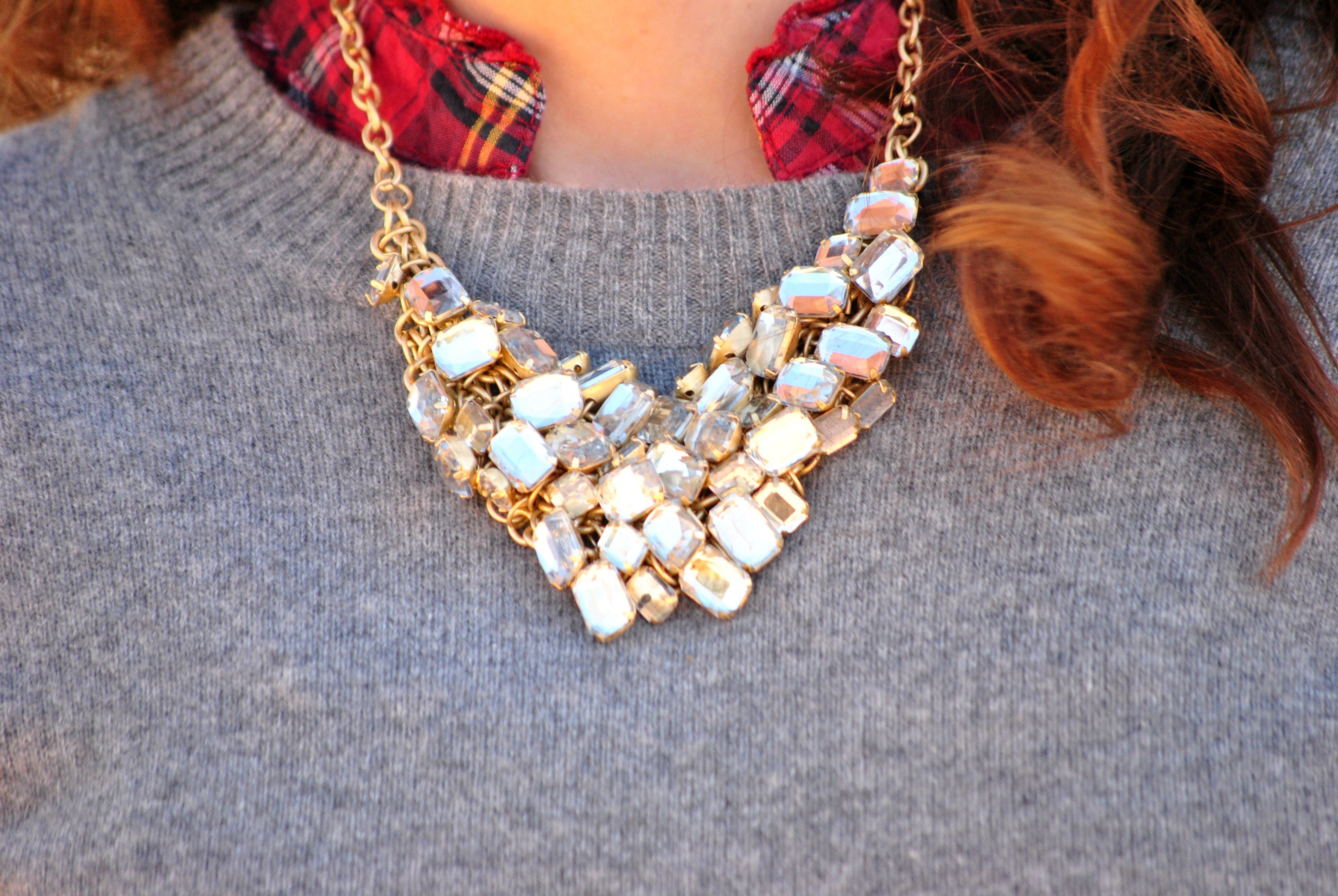Grey sweater and statement necklace