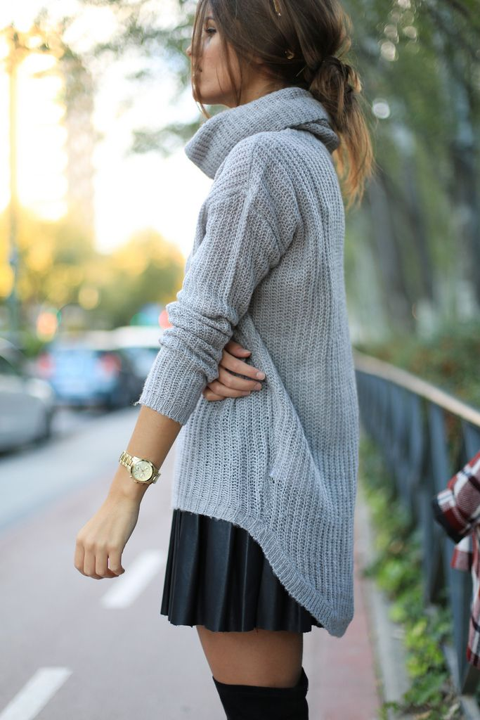 Grey sweater and thigh high boots