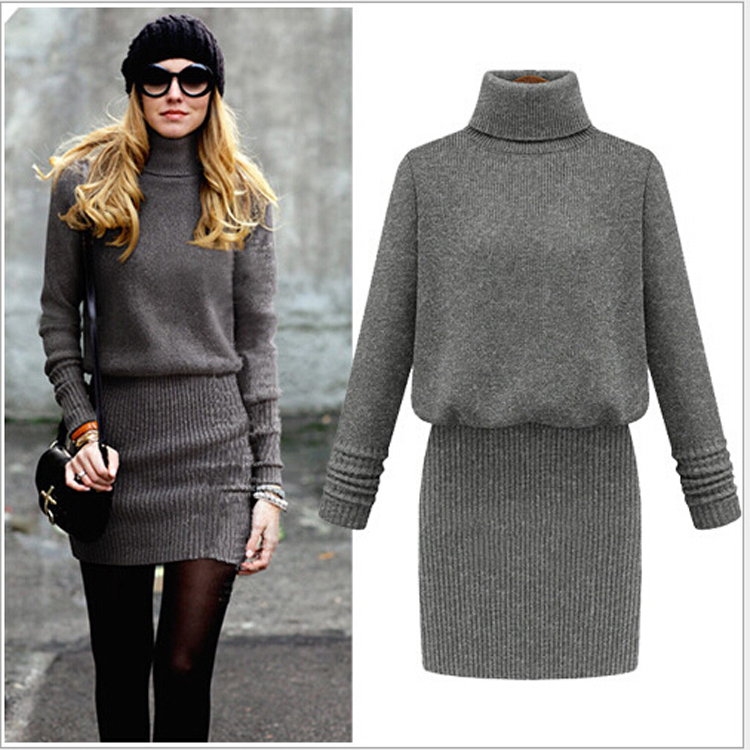Grey turtleneck dress
