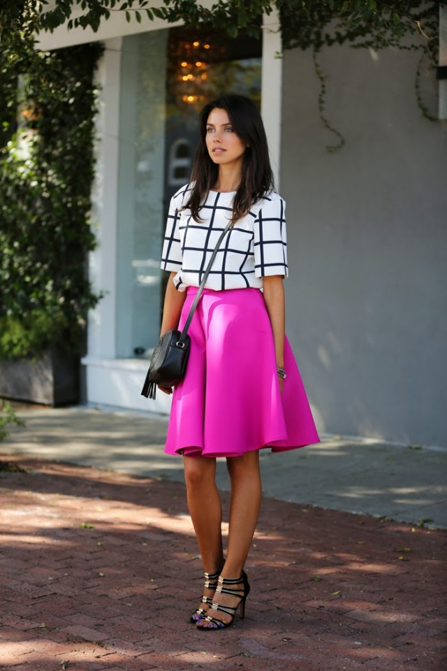 Fashionable Fuchsia Skirt with Checkered Top