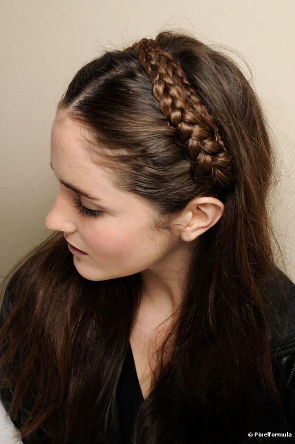 Hair with a braid headband