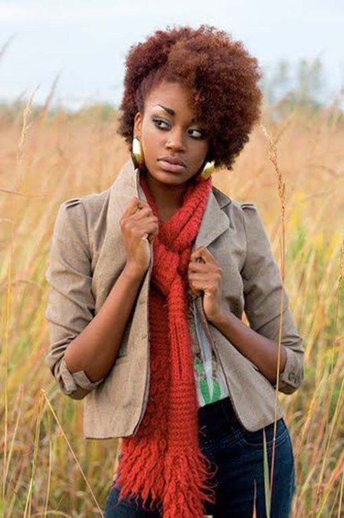 African natural kinky hair styles