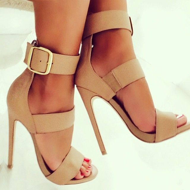 High ankle strap heels