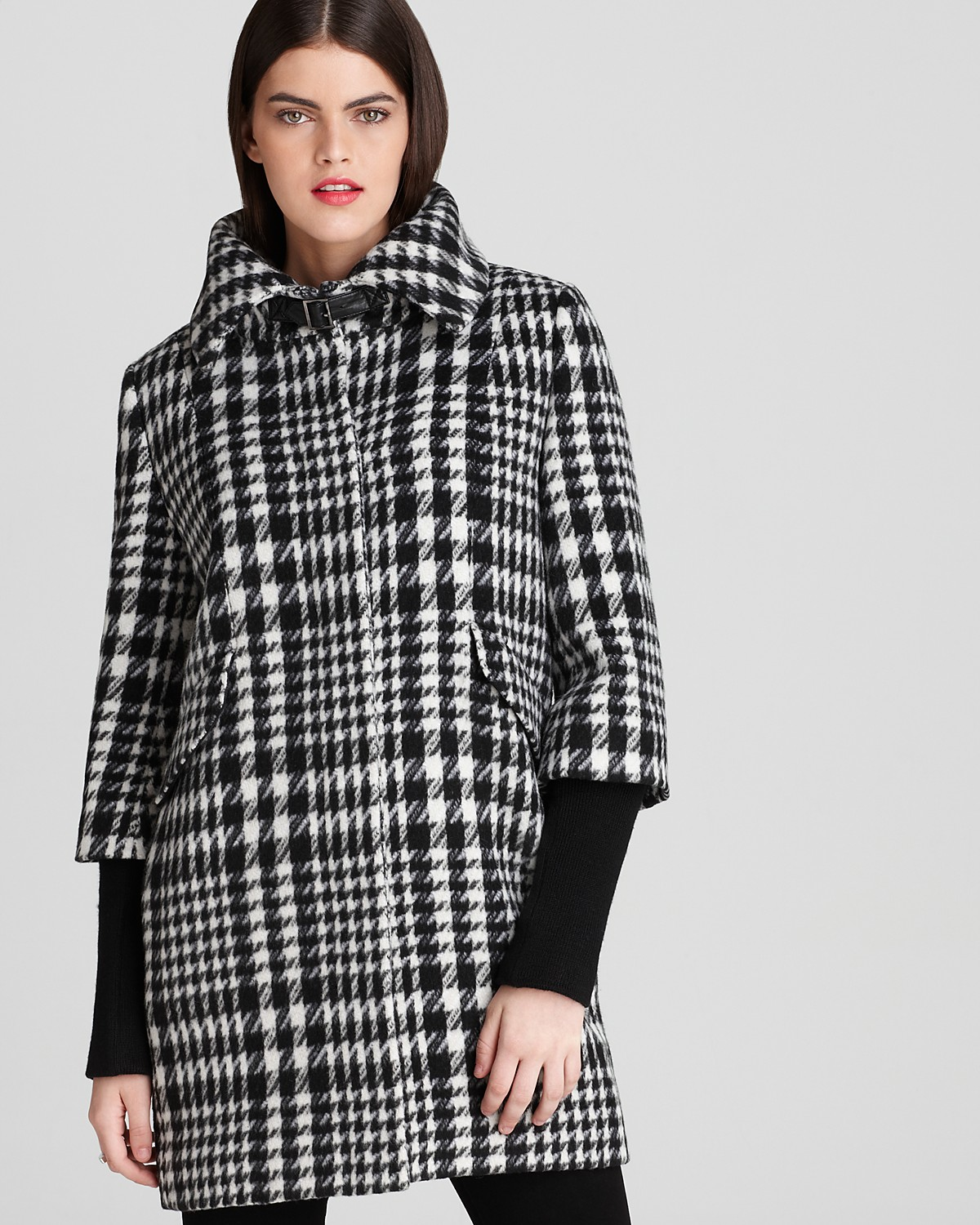 Houndstooth cocoon coat