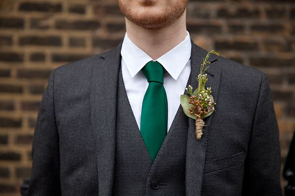 Hunter green groomsmen tie