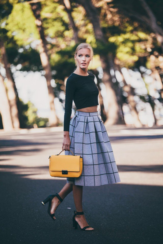 Checkered Full Skirt with Black Crop Top