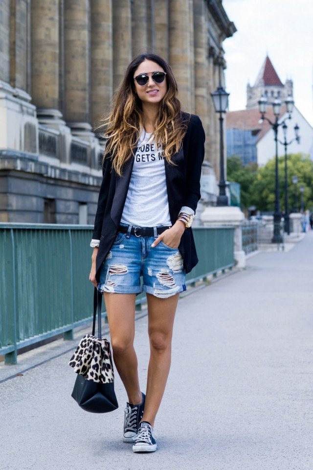 Denim Shorts with Black Blazer