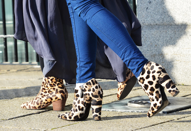 Leopard print platform booties
