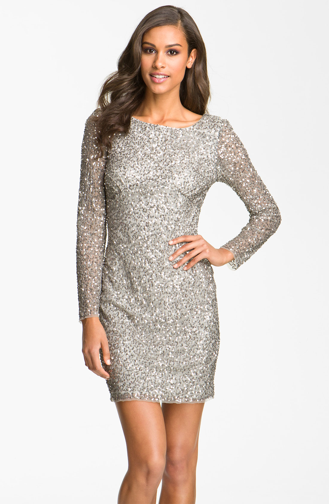 Long sleeve metallic silver sequin dress