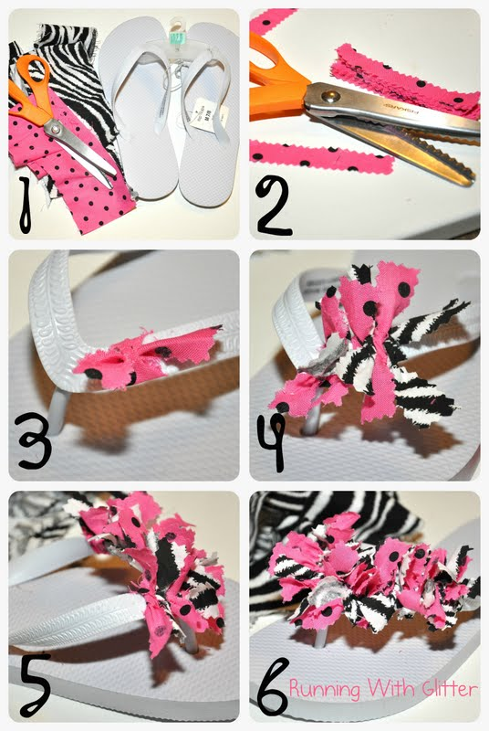 Lovely DIY Fabric Embellished Slippers