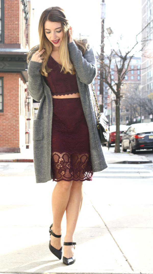 Marsala lace midi dress