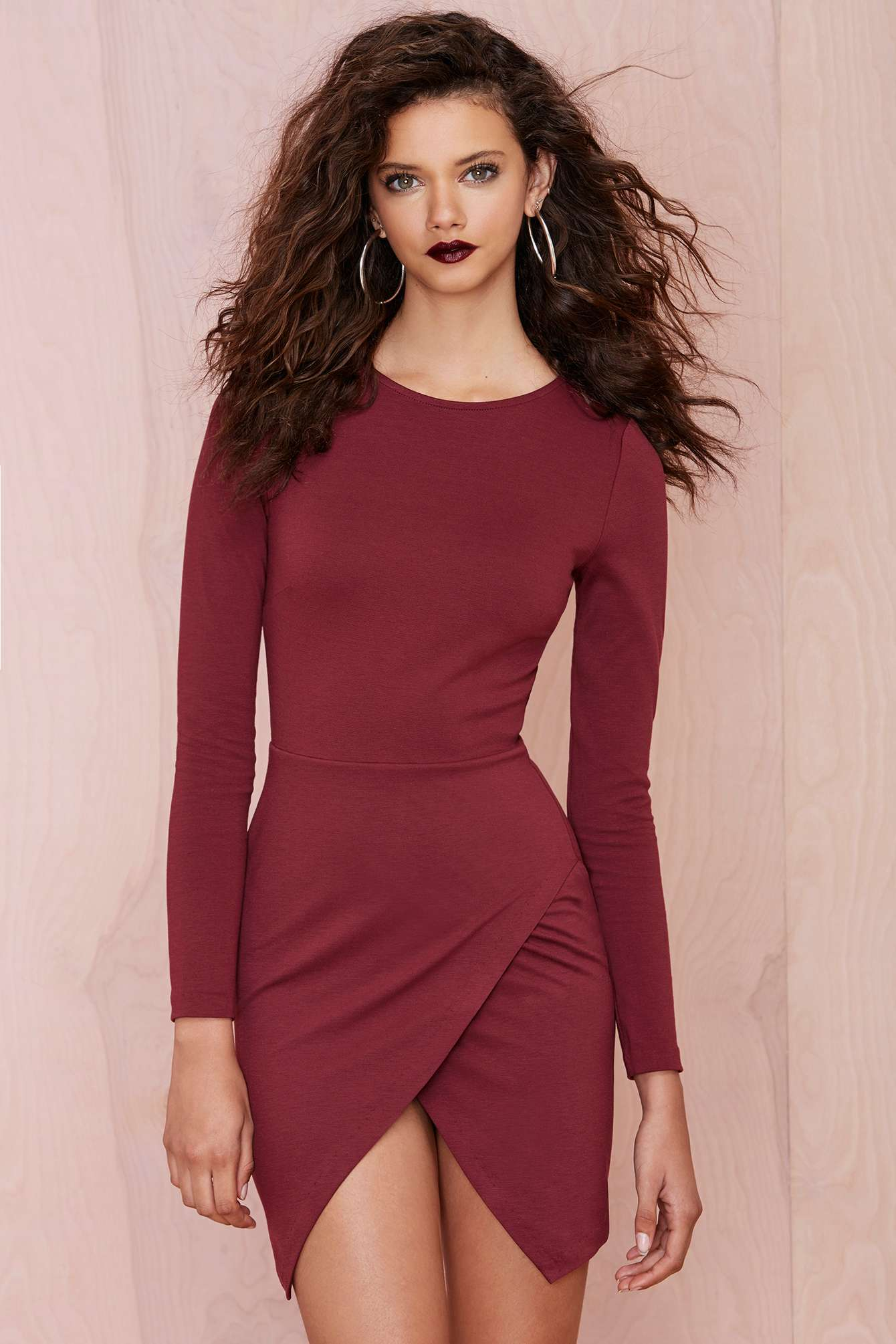 Marsala long sleeve dress