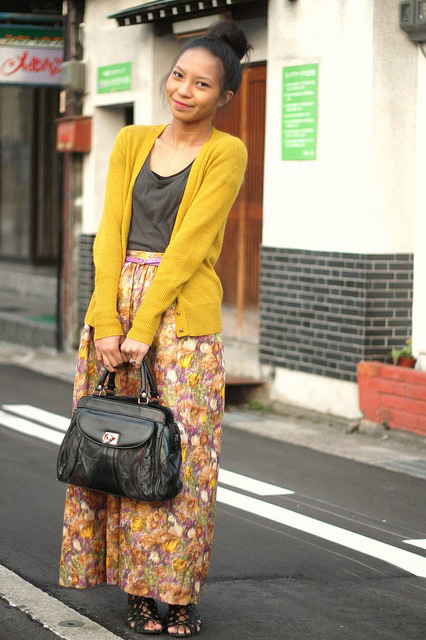 Maxi skirt and cardigan