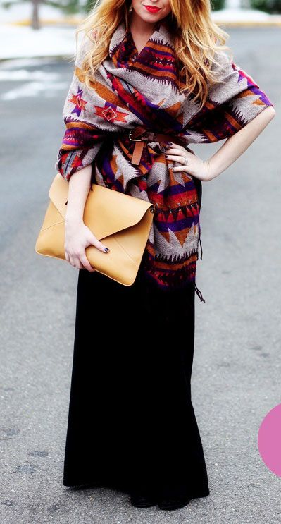 Maxi skirt and poncho