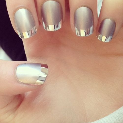 Metallic silver French manicure