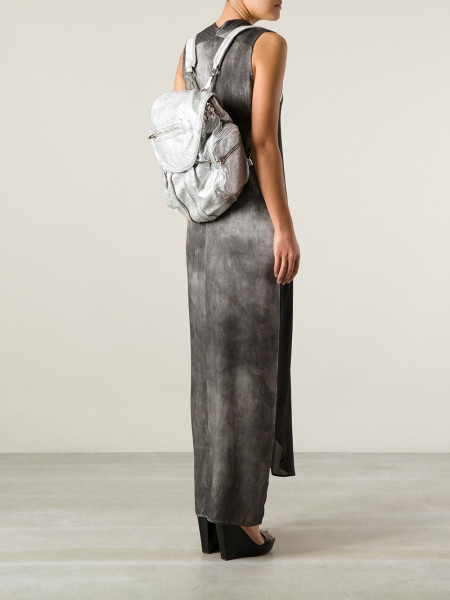 Metallic silver backpack