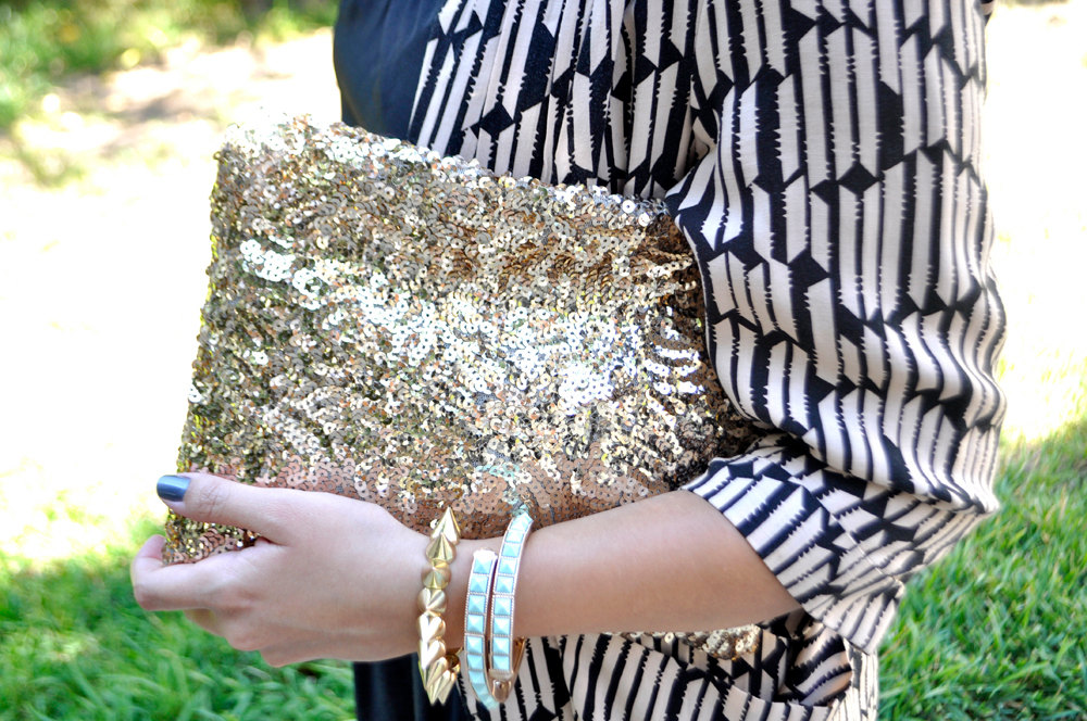 Metallic silver evening bag