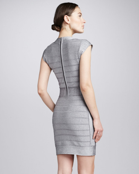 Metallic silver fitted knit dress