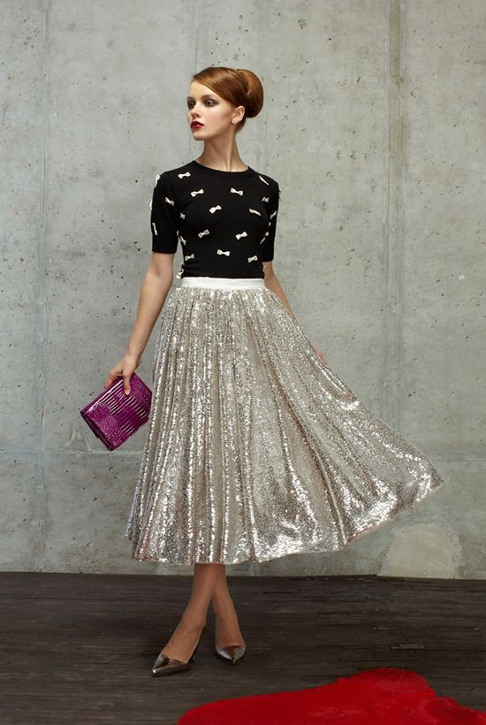 Metallic silver flare skirt