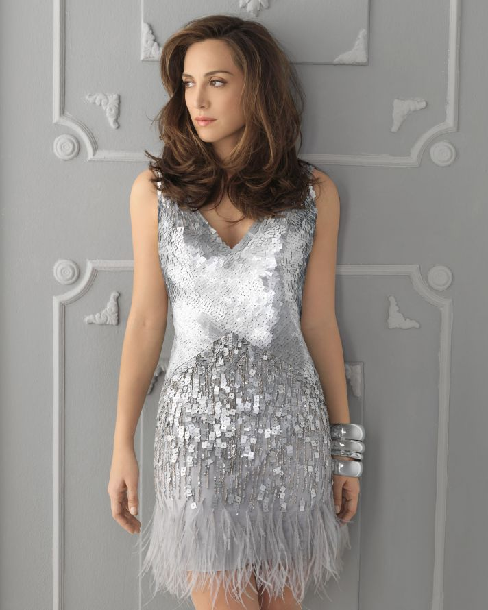 Metallic silver sequin dress