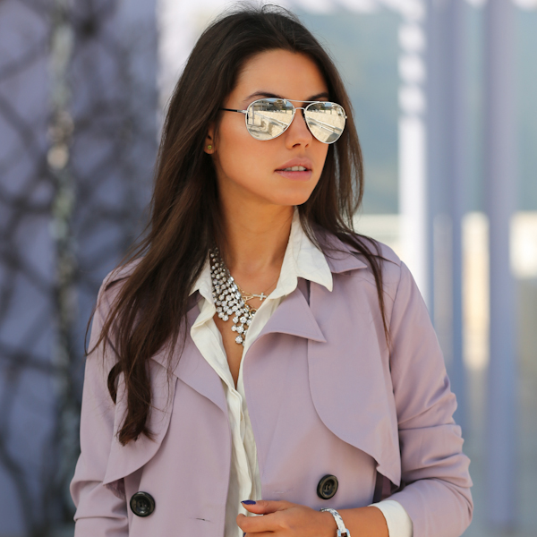 Metallic silver sunglasses