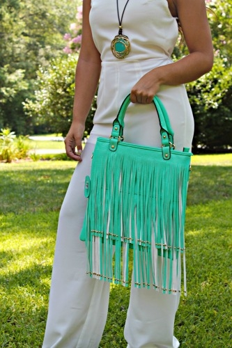 Mint green fringe purse