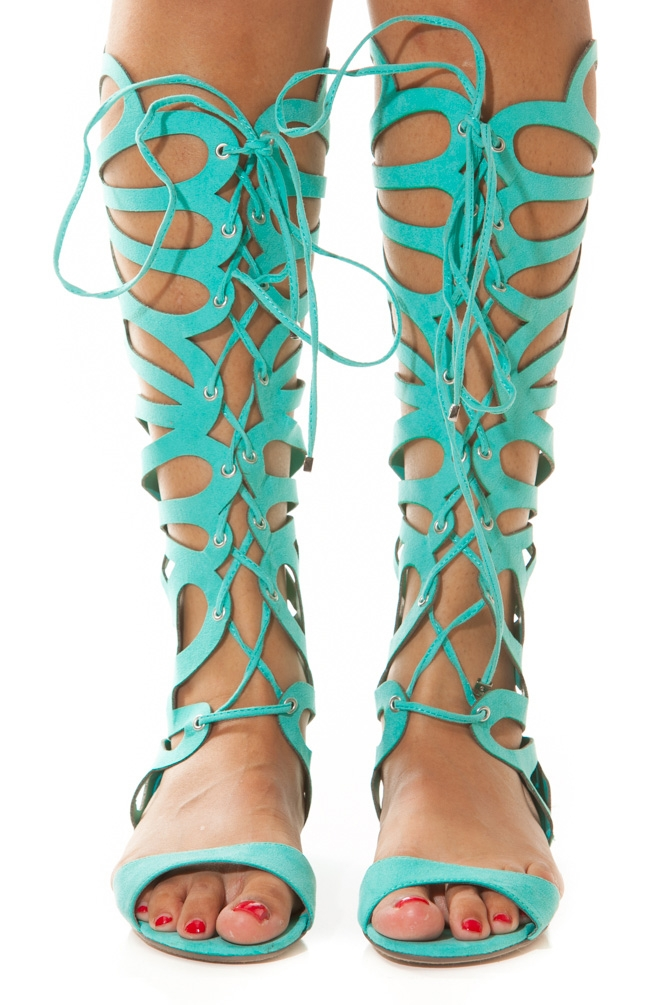 Mint green gladiator sandals