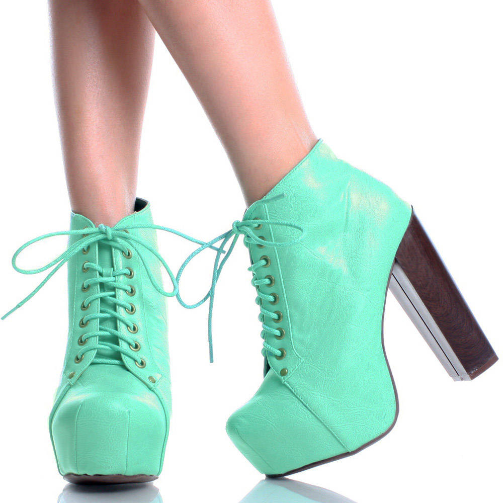Mint green lace up platforms