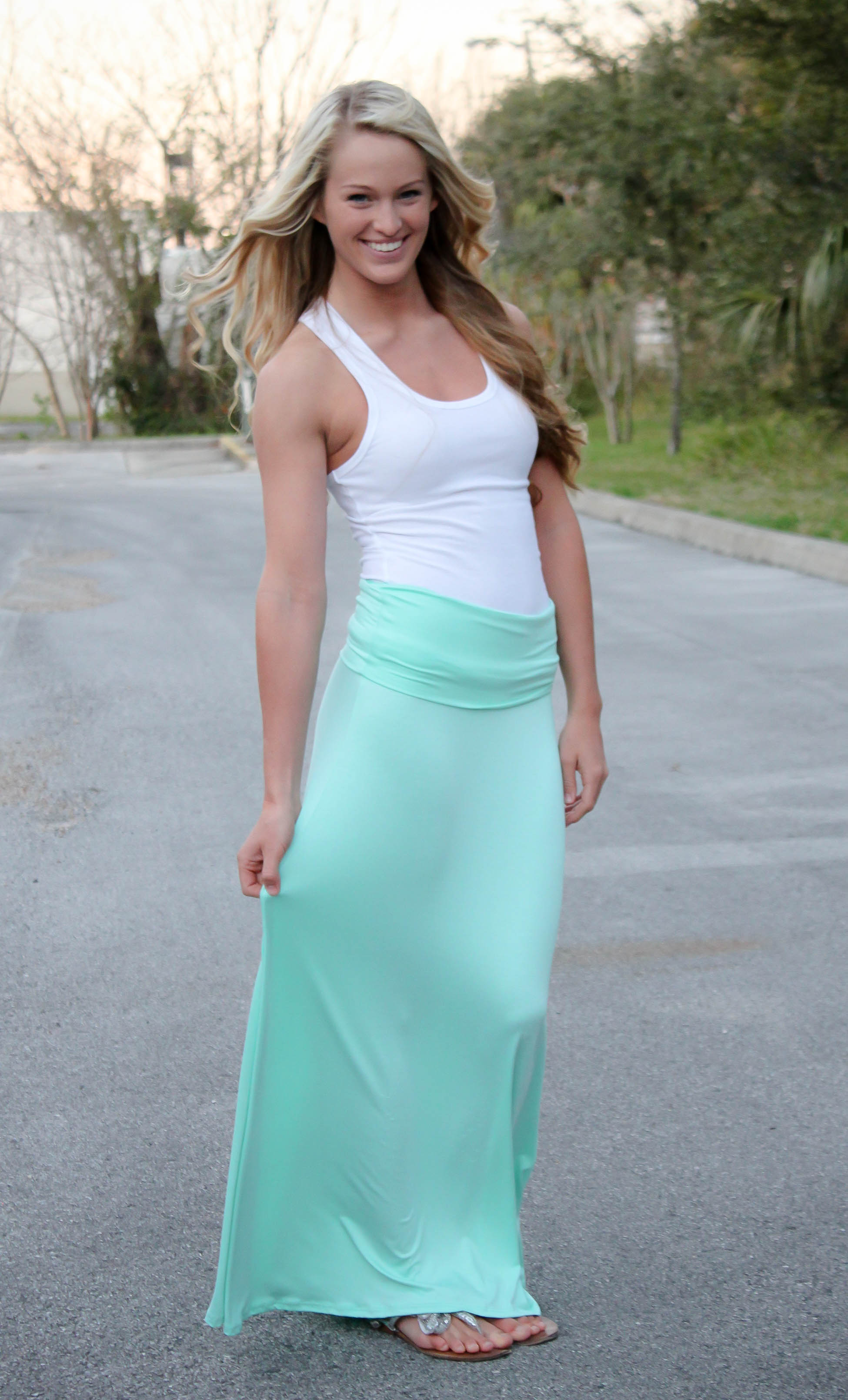 White and mint green maxi dress