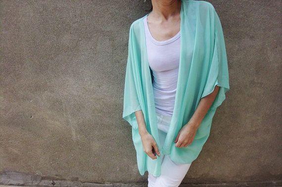 Mint green sheer kimono