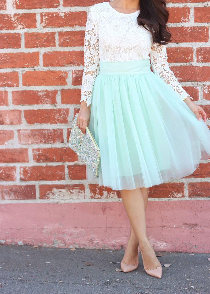 Mint green tulle skirt