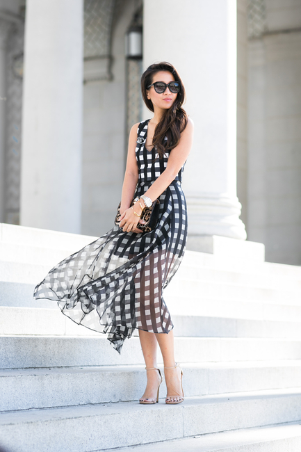 Romantic Chiffon Checkered Dress for Work
