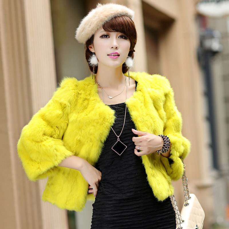 Neon faux fur jacket
